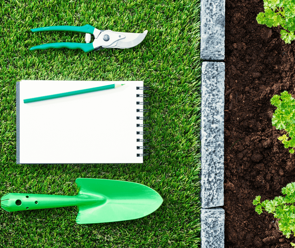 Notebook with gardening tools